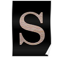 Letter S Metallic Look Stripes Silver Gold Copper Poster