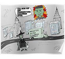 Post-Frankenstorm cleanup cartoon Poster