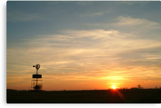 Windmill at sunset by Flo Smith