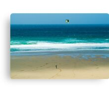Kiteboarding in Cornwall. Canvas Print