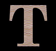 Letter T Metallic Look Stripes Silver Gold Copper by theartofvikki