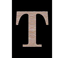 Letter T Metallic Look Stripes Silver Gold Copper Photographic Print