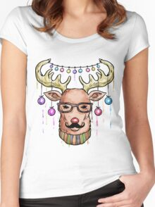 Deer Christmas & New Year Women's Fitted Scoop T-Shirt