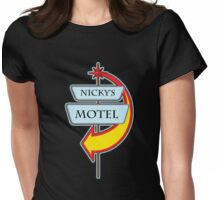 Nicky's Motel campy truck stop tee  Womens Fitted T-Shirt