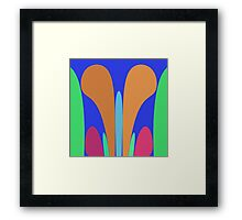 Nouveau Retro Graphic in Blue Orange Green Framed Print