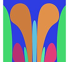 Nouveau Retro Graphic in Blue Orange Green Photographic Print