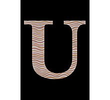 Letter U Metallic Look Stripes Silver Gold Copper Photographic Print