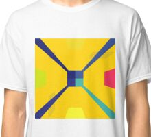 Nouveau Retro Graphic in Yellow and Blue Classic T-Shirt