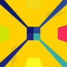 Nouveau Retro Graphic in Yellow and Blue by Anthony Ross