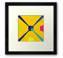 Nouveau Retro Graphic in Yellow and Blue Framed Print