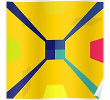 Nouveau Retro Graphic in Yellow and Blue Poster