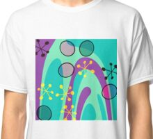 Nouveau Retro Graphic Teal Yellow and Purple Classic T-Shirt