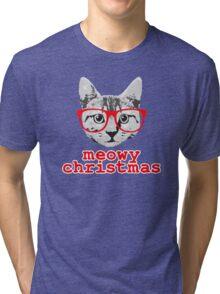 Funny Christmas - Meowy Christmas Tri-blend T-Shirt