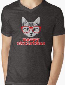 Funny Christmas - Meowy Christmas Mens V-Neck T-Shirt