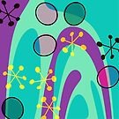 Nouveau Retro Graphic Teal Yellow and Purple by Anthony Ross