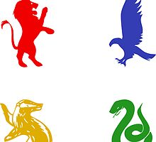 Hogwarts House Animal Sticker Set (Colorful) by princessbedelia