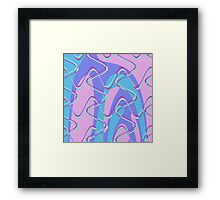 Nouveau Retro Graphic Pink Teal and Purple Framed Print