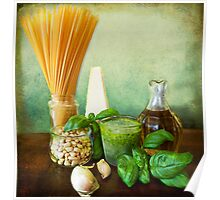 Italian recipe: noodles with pesto (basil,parmisan,garlic,olive oil,pine nuts) Poster