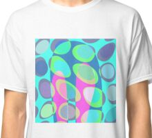 Nouveau Retro Graphic Teal Pink and Blue Classic T-Shirt