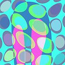 Nouveau Retro Graphic Teal Pink and Blue by Anthony Ross