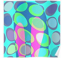 Nouveau Retro Graphic Teal Pink and Blue Poster