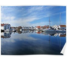 Water reflections in the harbour Poster