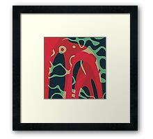 Nouveau Retro Graphic Red Green and Black Framed Print
