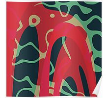 Nouveau Retro Graphic Red Green and Black Poster