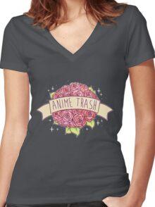 Anime Trash Women's Fitted V-Neck T-Shirt