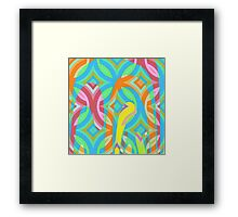 Nouveau Retro Graphic Blue Pink and Yellow Framed Print