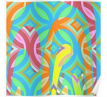 Nouveau Retro Graphic Blue Pink and Yellow Poster