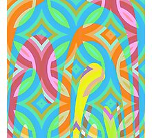 Nouveau Retro Graphic Blue Pink and Yellow Photographic Print