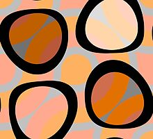 Nouveau Retro Graphic Orange Brown and Peach by Anthony Ross
