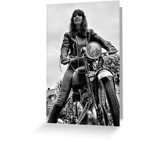 Girl on a Motorcycle Greeting Card