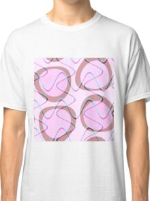 Nouveau Retro Graphic Pink Brown and Teal Classic T-Shirt