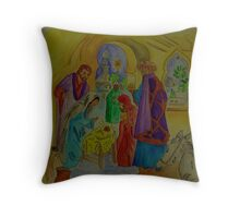 The Wise Men Visit Jesus the Christ Throw Pillow