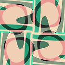 Nouveau Retro Graphic Green and Peach by Anthony Ross