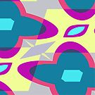 Nouveau Retro Graphic Blue Yellow Pink and Gray by Anthony Ross