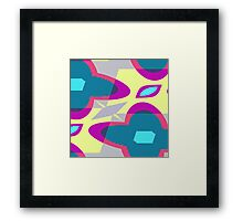 Nouveau Retro Graphic Blue Yellow Pink and Gray Framed Print