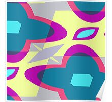 Nouveau Retro Graphic Blue Yellow Pink and Gray Poster