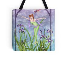 Dragonfly Dancing Fairy Iris Pond Tote Bag