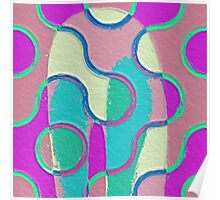 Nouveau Retro Graphic Teal Yellow Purple Textured Poster