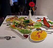 Bengali Fish with Pilau Rice and Chicken Tandoori by Keith Larby