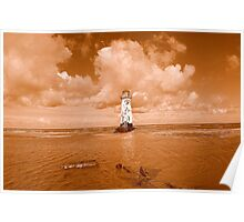 Point Of Ayr Lighthouse At Talacre Poster