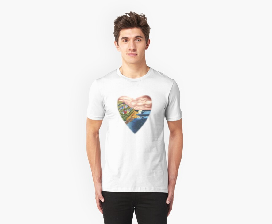 Surf Heart T Shirt by Fangpunk