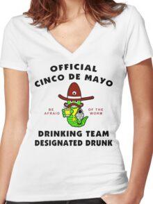 "Cinco de Mayo ""Cinco de Mayo Drinking Team Designated Drunk"" Women's Fitted V-Neck T-Shirt"