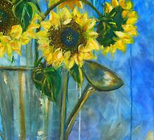 SUNFLOWER WATERING CAN  by kimberlysdream