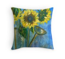 SUNFLOWER WATERING CAN  Throw Pillow