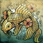 koi fish and Hibiscus  by vinpez