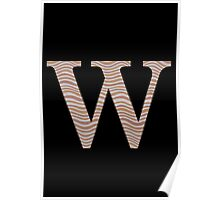 Letter W Metallic Look Stripes Silver Gold Copper Poster